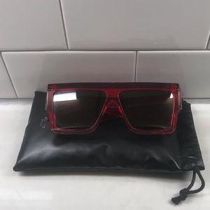 Authentic Celine Red D-Frame Sunglasses